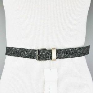 BCBGeneration Black Gray Belt Faux Leather Gold